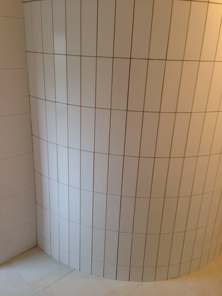 Badkamer Zwolle ronde betegelde muur